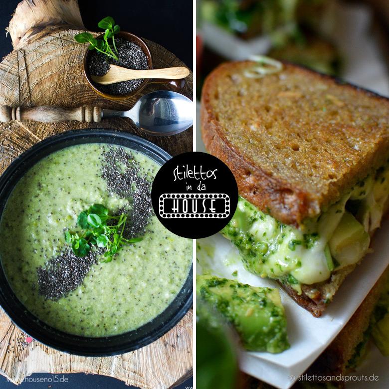 Stilettos in da House – Wir kochen nach Farben – Grüne Suppe und Green Grilled Cheese Sandwich