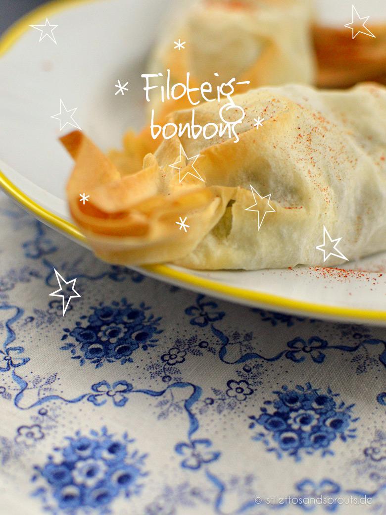 Filoteigbonbons mit Spinat und Feta