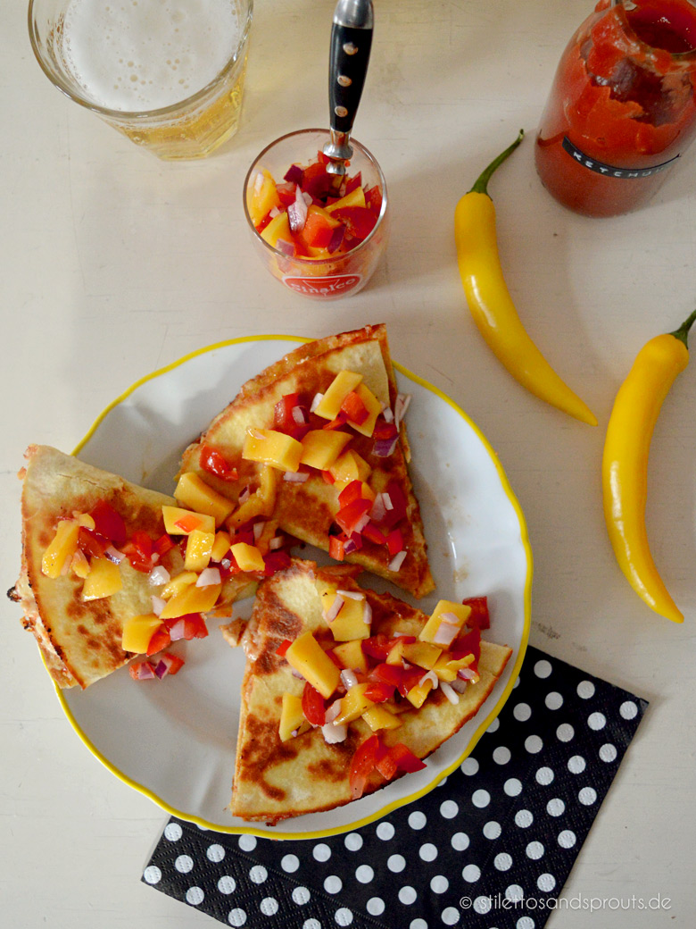 Mango BBQ Chicken Quesadillas