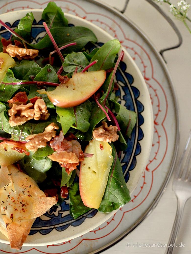 salat mit honig ziegenk se p ckchen und bacon stilettos sprouts. Black Bedroom Furniture Sets. Home Design Ideas