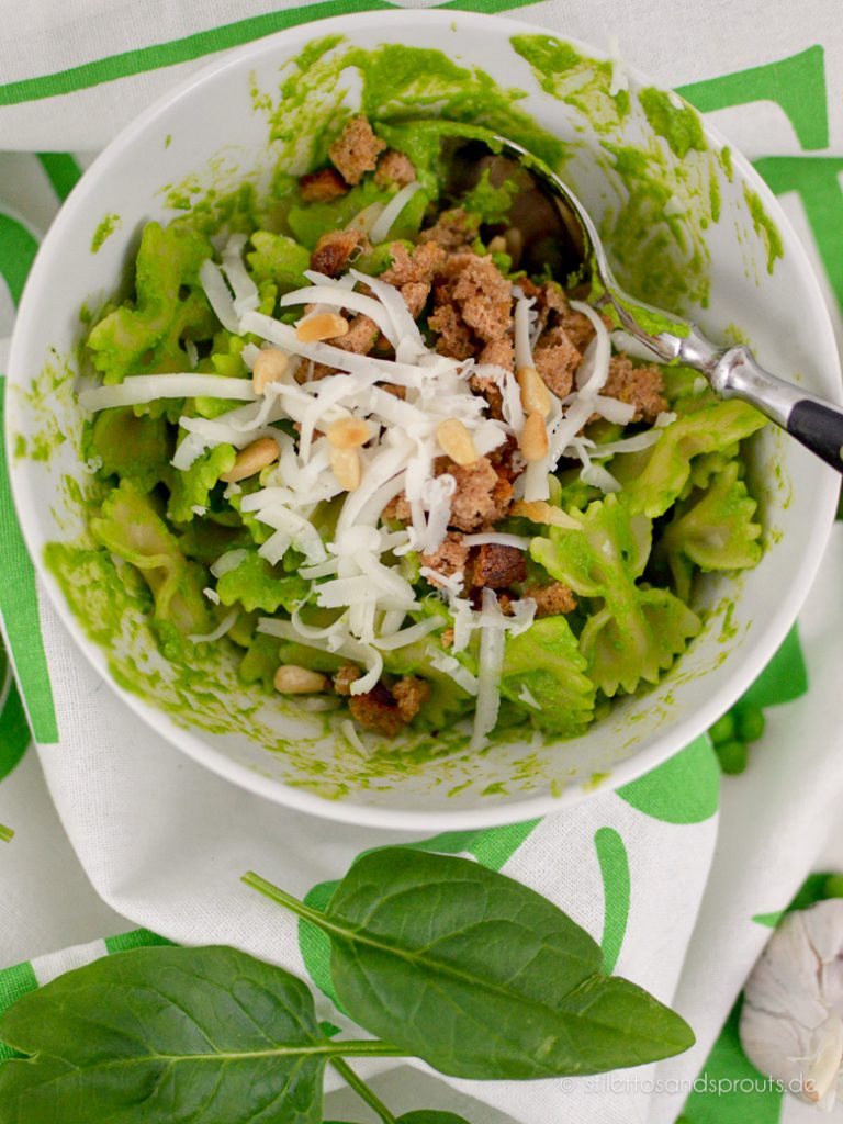 Pea and Popeye Pesto Pasta