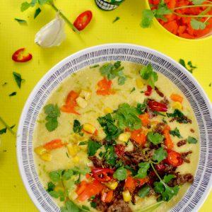 Mexikanische Mais Suppe mit Hack