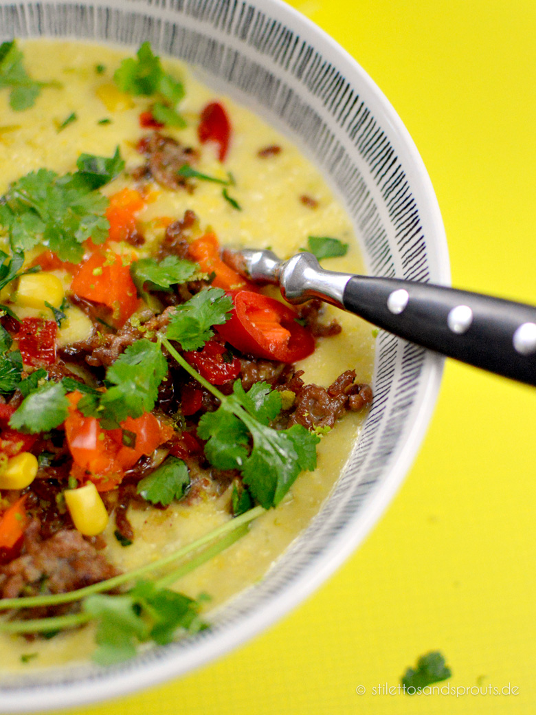 Mexikanische Mais Suppe mit Hack