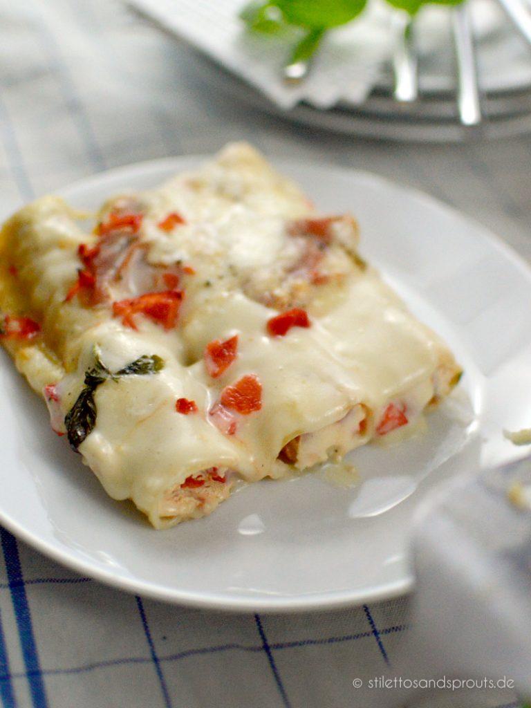 Die Cannelloni mt Ricotta und Schinken sind eine tolle Alternative zum italienischen Klassiker it Hackfleisch