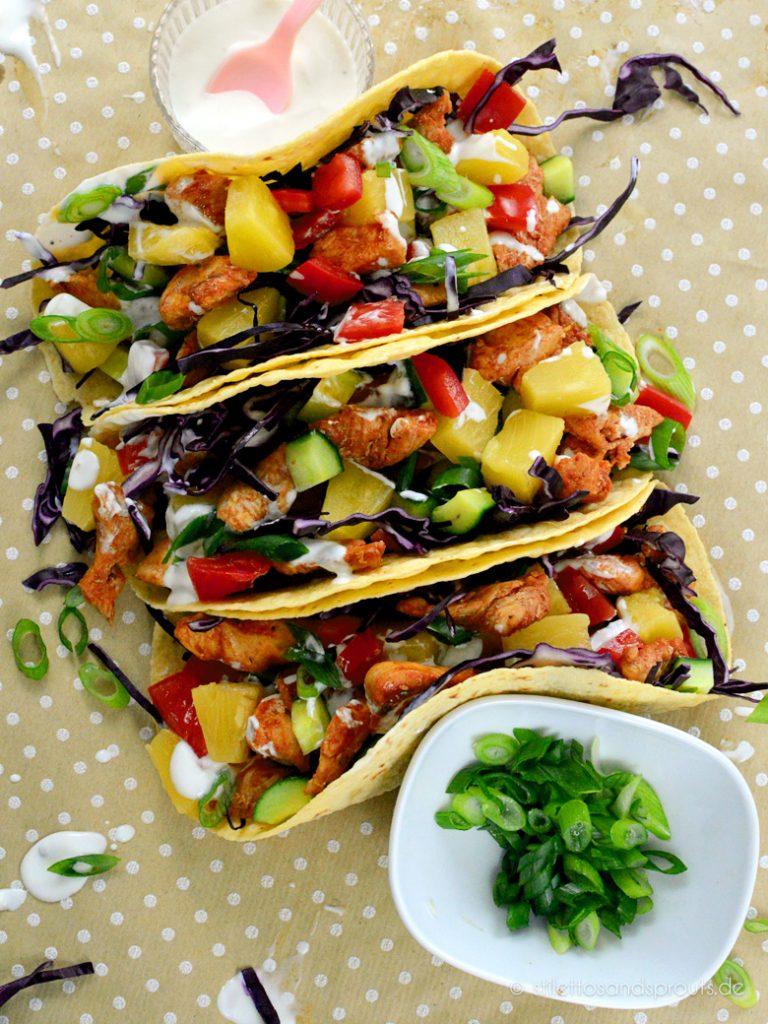 Die bunten Tacos sind eine Augenweise: super farbenfroh und appetitlich