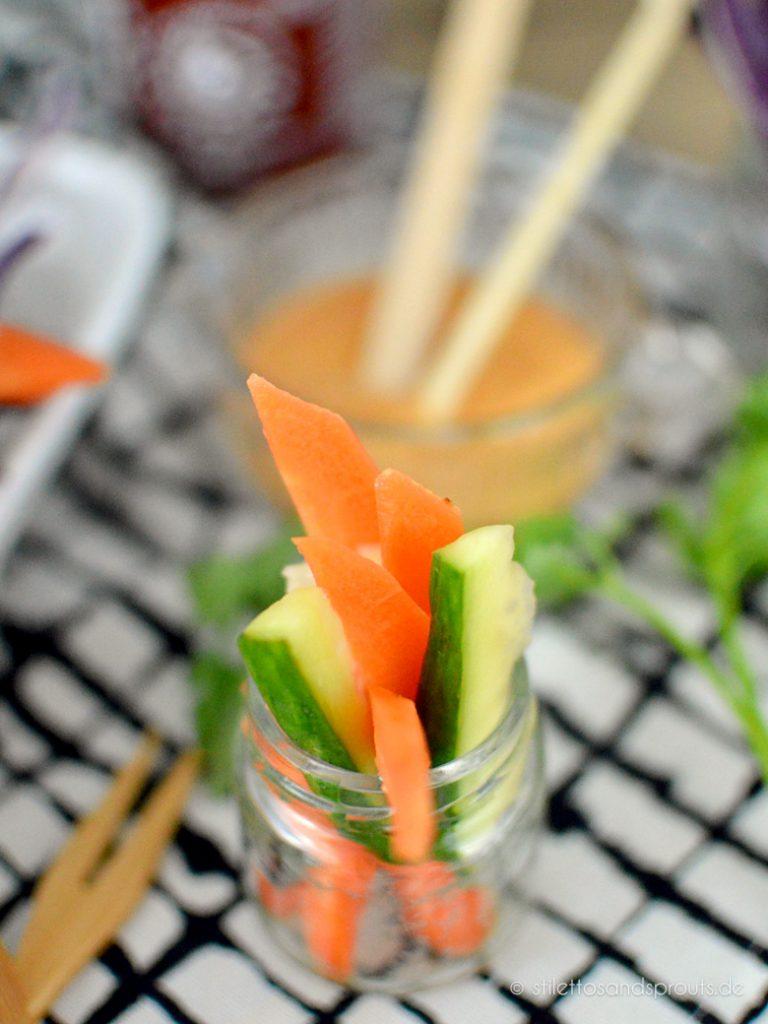 Gurke und Karotte werden beim Banh Mi vorher sauer eingelegt