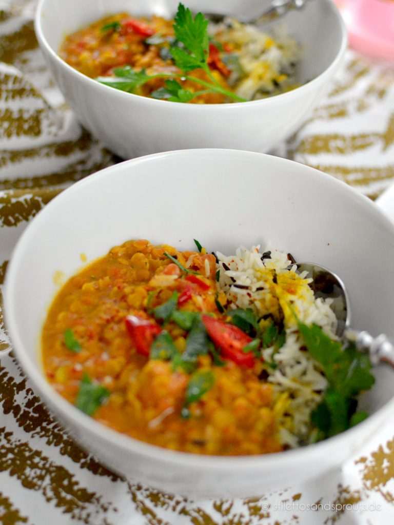 Linsen Dal mit Reis