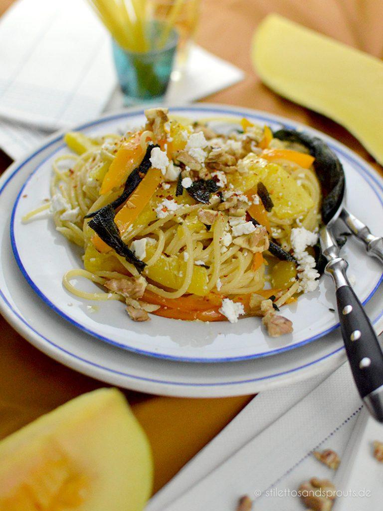 Gerösteter Butternut Pasta mit Paprika aus dem Ofen