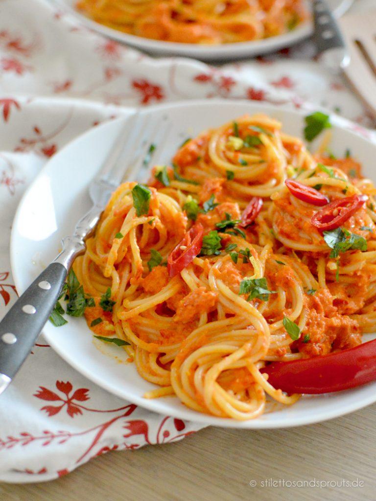 Vegetarische Pasta mit Paprika