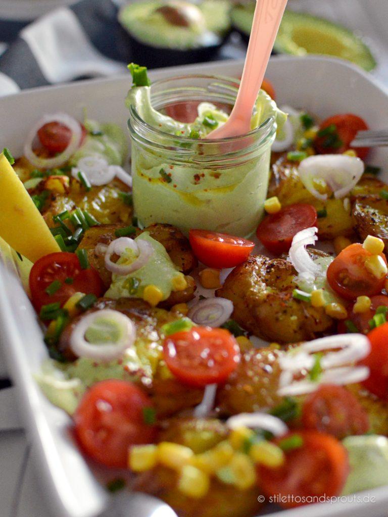 Quetschkartoffeln mit Avocadocreme