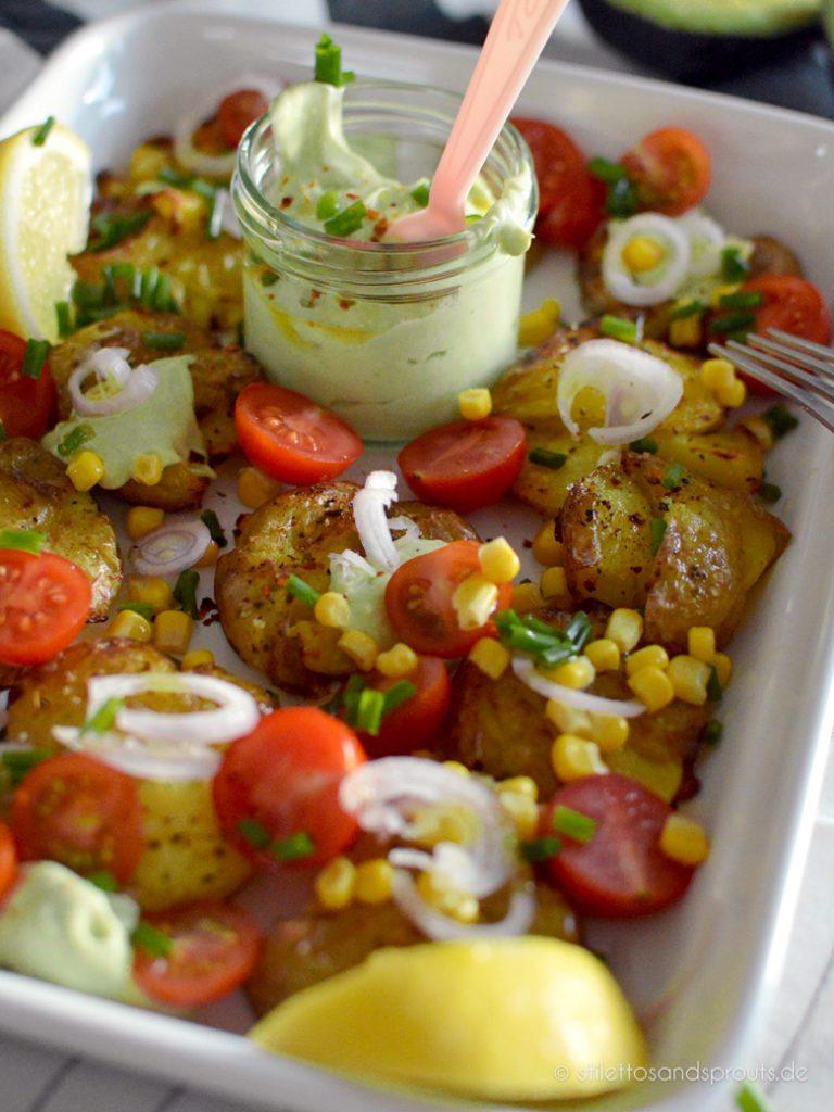 Kartoffelsalat mal anders mit Stampdkartoffeln aus dem Ofen