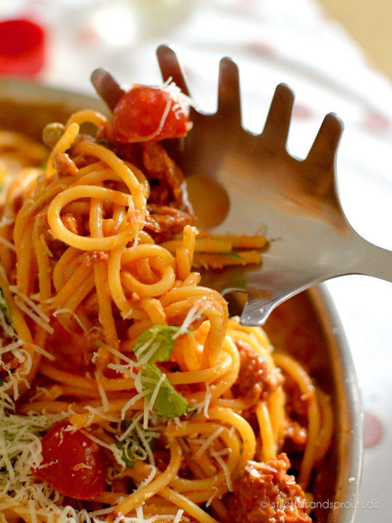 Schnelle Spaghetti mit italienischer Wurst